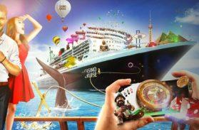 CasinoCruise banner med en stor casinobåt och människor som spelar casino