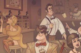 En bar fylld med tecknade karaktärer